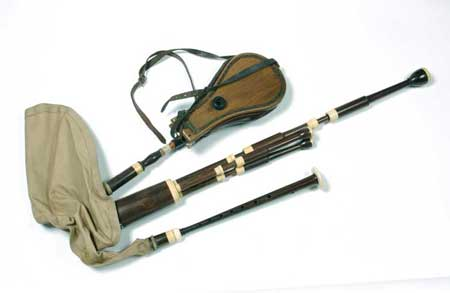 Postcard of Set of bellows-blown Lowland bagpipes.