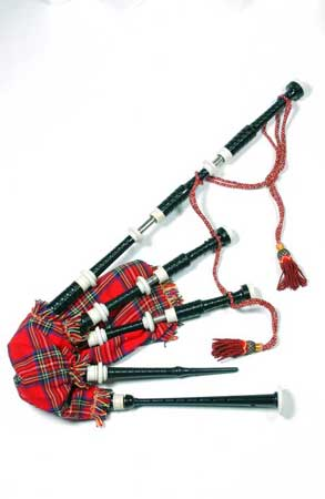 Postcard of Set of Highland bagpipes.